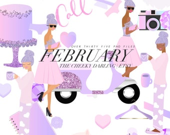 Cute pink Valentine Clipart and Paper Girly Pink Purple fashion dog cat scooter glitter Png files for Small CU like Planner Stickers