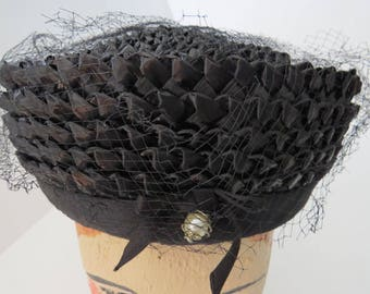 Vintage Black Straw Cloche Hat by Clover Lane - Ribbon Band Bow Pearl Accent - Millinery - Womens Fashions Accessories - Costume
