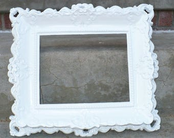Large Gorgeous ORNATE White French Picture Frame
