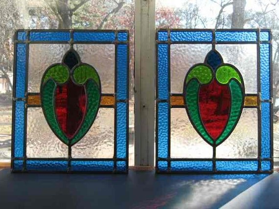 Vintage 1930 39 s pair stained glass window by millingtonmill for 1930s stained glass window designs