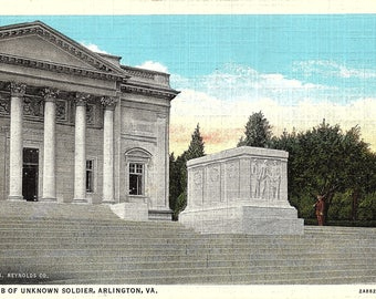 Arlington, Virginia, Tomb of Unknown Soldier - Vintage Postcard - Linen Postcard - Unused (D)