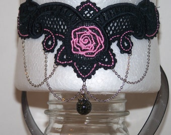 Black Lace Choker with Pink Embroidered Rose and Details--Battenburg Style Lace
