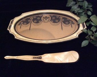 Vintage Art Deco Vanity Pearlized Pyralin Tray Shoehorn, Vintage Vanity, Vintage Collectibles, Vintage  Make Up Tray, Vintage Shoe Horn