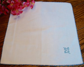 Linen Centerpiece Doily Blue Embroidery and Trim Vintage Table Topper