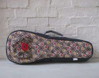 Soprano ukulele case - Red Flower Ukulele Case (Ready to ship)