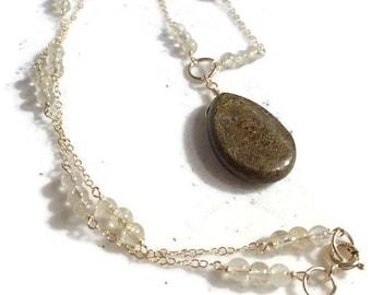 Brown Necklace - Gold Rutilated Quartz Jewelry - Bronzite Gemstone Pendant - Gold Chain Jewellery - Luxe - Fashion
