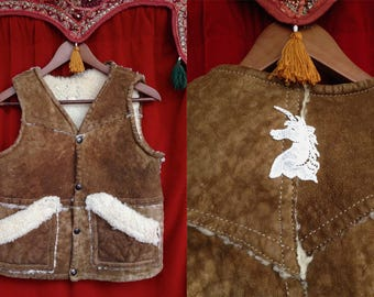 Vtg 70*s/ Shearling VEST with Unicorn patch// Sweeeet!  -vintage seventies distressed  layering vest/  cozy warm/ S, XS