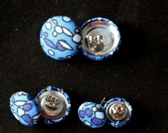 Blue Ovals Fabric Covered Button Earrings