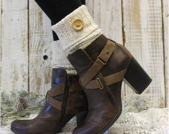 BOOT CUFFS Natural Flecks, Boot cuffs boot toppers mini leg warmers boot cuffs knit boot cuffs wood button womens Catherine Cole Studio BC1