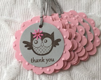 Set of 12 Pink and Gray Owl Tags - Favor Gift Tags - Party Tags  - Baby Shower - Birthday Party