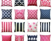 CLEARANCE Decorative Pillows, Candy Pink or Navy Pillow Cover, Navy Toss Pillow, Hot Pink Pillows, Throw Pillows, Zippered Pillow, 16x16