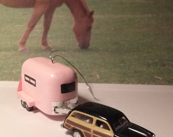 Horse trailer ornaments for the holidays or hang from the riew view mirror