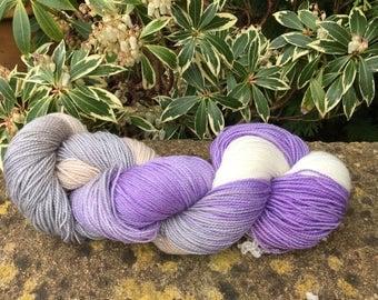 """100grms hand painted merino/nylon /stelina yarn """"  unravel sheep """""""