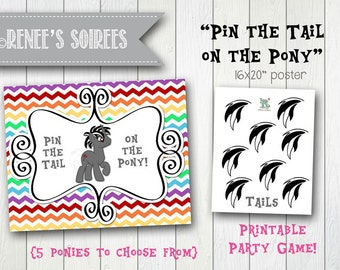 LITTLE PONY Boy Pony Printable Pin-the-Tail Game - Instant Download - DIY Party game poster