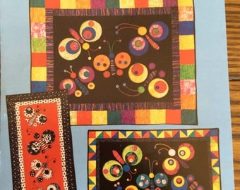 Butterfly Quilt Pattern - Mary Lou Company 1999  - 3 Wall Hangings - New In Pckage - Boho Decor - Bountiful Butterflies - Modern - Quilting