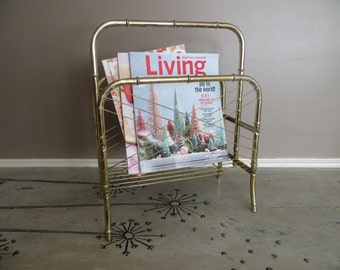 Mid Century Modern Magazine Rack Bamboo Brass Storage Rack Book Storage Magazine Storage Gold Decor Modern Decor Towel Rack