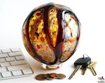 Hand Blown Glass Float - Earthy Amber with Ruby Strokes
