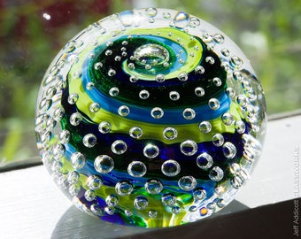 Hand Crafted Glass Paperweight - Blue and Green Stripes with Bubble Grid