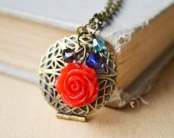 Red Rose Essential Oil Diffuser Locket Bronze Necklace