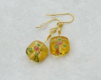 Sweet Honey Gold Lampwork Earrings, Flower Earrings, Lampwork Glass Earrings, Floral Lampwork Earrings