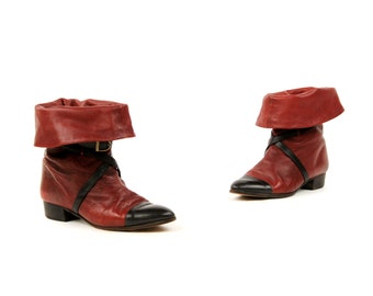 Vintage 1980's Mario Valentino Dark Red Italian Leather Belt Buckle Straps Fold Over Ankle Boots 7.5