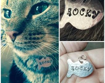 Cat ID Tag, Cat Name Tag, Unique Pet ID Tag, Custom Cat Tag, Cat Tag, Personalized Cat Tag, Personalized Pet Tag, Fish Cat Tag, Cat Collar