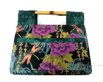 Reusable Market Bag, Shopping Tote, Craft Tote, Laptop Bag, Bamboo Handles, Outside Pockets, Oriental Fabric, Ready to Ship, Free Shipping
