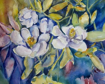 Magnolia Watercolor Painting  Original Art Spring Magnolia in New England white flower wall art  Carlie DeGaetano