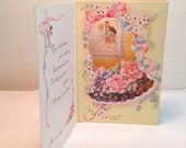 Vintage Greeting Card Wedding Anniversary 3-D Cut Out Stand-Up Shadowbox Window