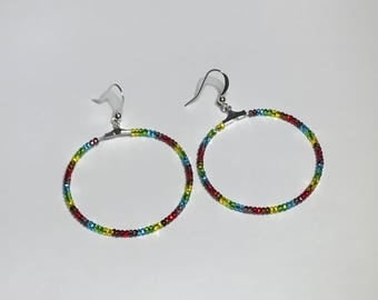 Rainbow Gay Lesbian Pride Hoop Earrings LGBT Jewelry