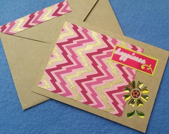 Happiness Blank Greeting Card - Recycled Handmade Paper & Kraft Paper