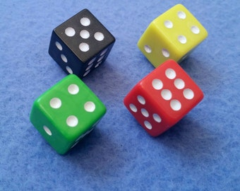 Upcycled Colorful Dice Magnets, set of four, black yellow green red