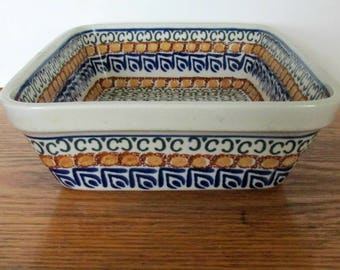 """Vintage Polish Pottery, Collectible Unikat 9.75"""" Bowl, Hand Made Deep Dish, Made In  Poland, Decorative Oblong Dish, Serving Dish"""