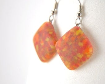 Matte square red and orange marble fused glass dangle earrings with surgical steel earhooks