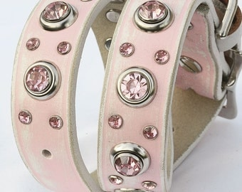 "Pink Leather Dog Collar with Jewels, Pink & White Leather Dog Collar, Shabby Chic Leather Dog Collar, Poodle Collar, Fits 15"" - 19"""