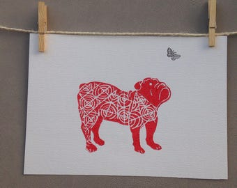 Lino Print - Limited Edition -A4 Linocut -Titled- Bulldog - relief print -Dog print -linoleum print on acid free paper.