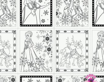 125139293 - Frozen Coloring Fabric - Pages - White - by the Yard