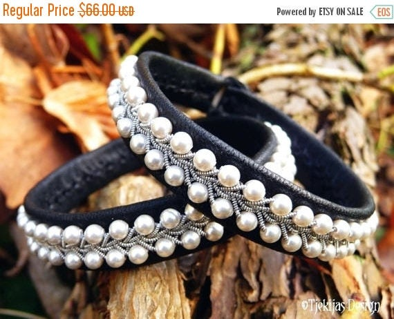 Black Leather White Pearls Sami Bracelet SKINFAXE Shieldmaiden Vikings Wristband Cuff Custom Handmade Norse Jewelry