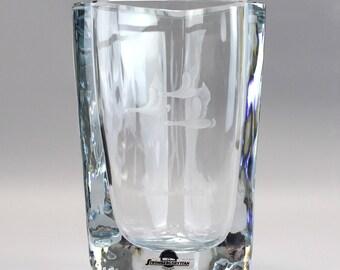Strombergshyttan Triangular Form Engraved Vase