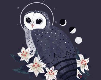Sooty Owl Familiar CROSS STITCH PATTERN Original Art by Callupish