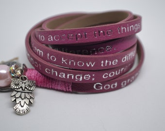 Humanity Leather Wrap Serenity Prayer Bracelet Blush Pink with Owl Charm Message Goodworks