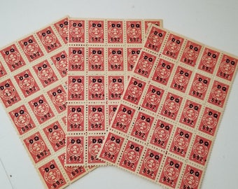 75 Red Silver Dollar savings unused trading stamps 3 sheets scrapbook altered art mixed media Vintage paper supplies ephemera