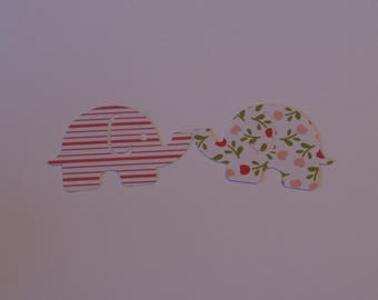 25 Large MOD ELEPHANT, double sided white with flowers and  white  with pink lines paper punch,  2 inch wide x 1.5 , scrap booking.