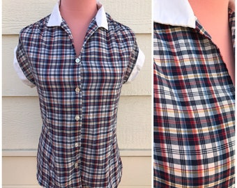 CLEARANCE - Plaid navy blue and red white collar 90s school girl blouse size medium