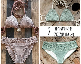 2 PDF, Crochet PATTERNS, Lorelei Bikini Pattern with basic bottom and Doris Lingerie Bikini Pattern, Sizes XS-L