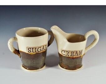 Handmade Ceramic Sugar and Creamer Set, Pottery Sugar and Cream Set