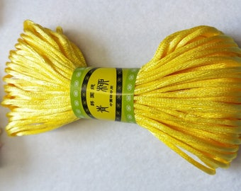 20M, 2mm yellow satin rattail cord trim string