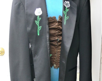 40r black  tux with white rose
