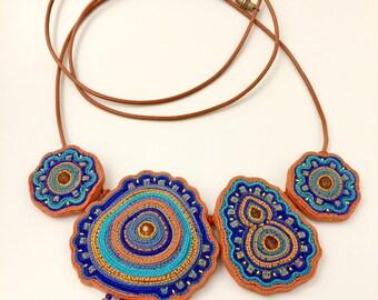 Soutache imitation polymer clay necklace . Handmade jewelry . Indian style necklace. Boho necklace. Handmade necklace