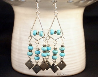 Long Turquoise Chandelier Earrings, Boho Chic Earrings, Beaded Chandelier Pierce or Clip-on Earrings, Long Gypsy Earrings,  Hippie Jewelry